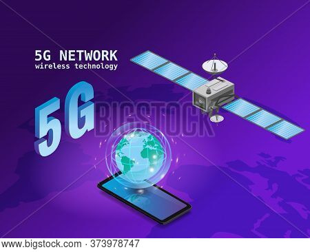 Global 5g Internet Network Satellite Communication. Satellite Flying Orbital Upon Earth Wireless Tec