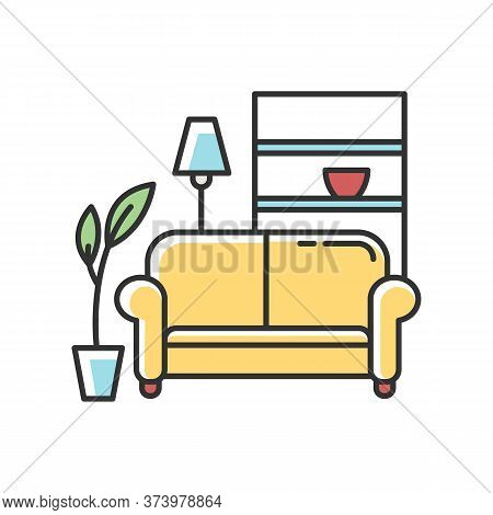 Apartment Interior Rgb Color Icon. Living Room Furniture. Cosy Home. Couch, Sofa. Place For Rest And