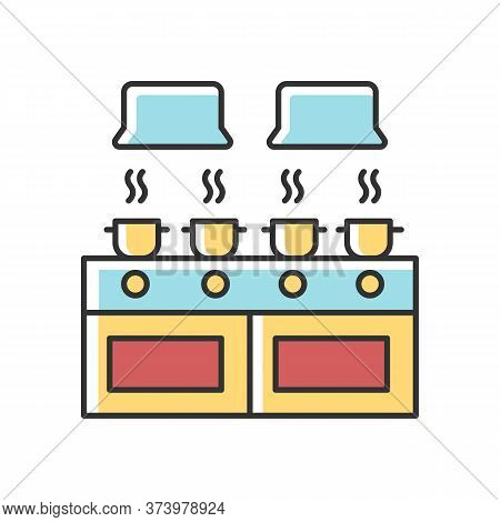 Communal Kitchen Rgb Color Icon. Common Dormitory Room. Cooking. Casseroles On Stove Top. Living Acc