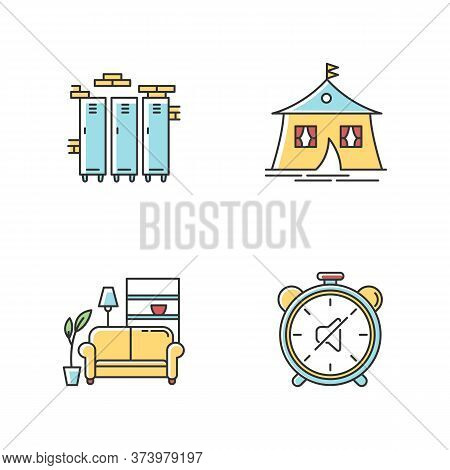 Dormitory Conditions Rgb Color Icons Set. Lockers. Gym, Swimming Pool Storage Closets. Marquee Tent.