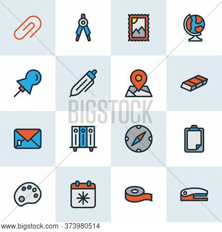Stationary Icons Colored Line Set With Clip, Palette, Post Stamp And Other Pen Elements. Isolated Ve