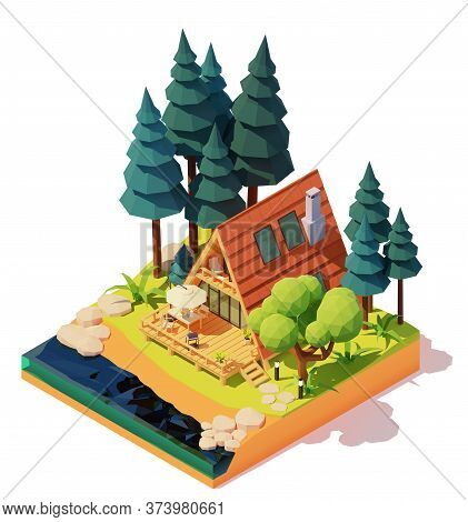 Vector Isometric Modern A-frame House In The Pine Wood. Wooden A-frame Cabin On The River Or Lake Ba
