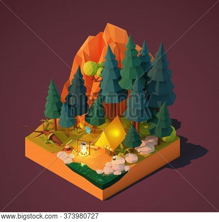 Vector Isometric Camping In The Forest. Campsite Near The River Or Lake, Pine Trees And Mountain. Ca