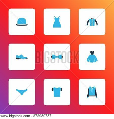 Clothes Icons Colored Set With Shirt, Sundress, Man Shoe And Other Necktie Elements. Isolated Vector