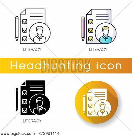 Literacy Icon. Linear Black And Rgb Color Styles. Professional Knowledge. Candidate Cv, Job Applicat
