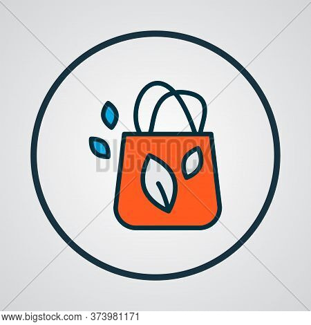 Eco Tote Bag Icon Colored Line Symbol. Premium Quality Isolated Merchandise Element In Trendy Style.