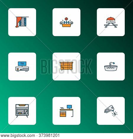 House Icons Colored Line Set With Dresser, Mixer, Bedside Table And Other Drawer Elements. Isolated