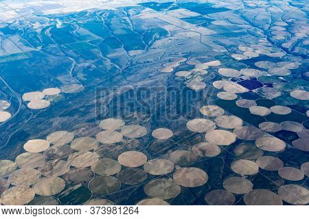 Aerial View Of Crop Circles And Crop Squares From Idaho Near The Snake River. Circle Shaped Fields A