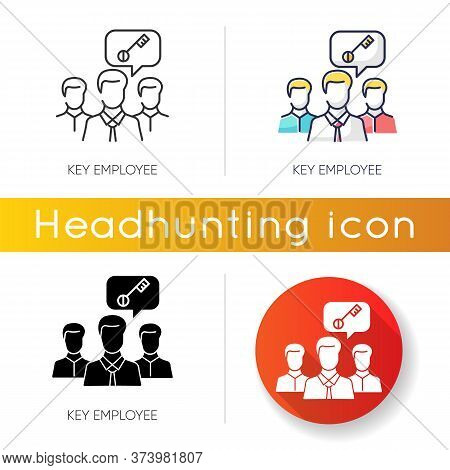 Key Employee Icon. Linear Black And Rgb Color Styles. Most Valuable Worker, Successful Team Leader.