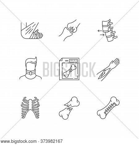 Bone Fractures Pixel Perfect Linear Icons Set. X-ray Scan. Spine Dislocation. Surgery. Open Fracture