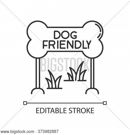 Dog Friendly Zone Pixel Perfect Linear Icon. Puppy Allowed Park And Square, Permitted Territory. Thi
