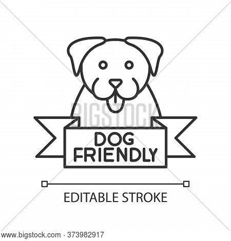 Dog Friendly Area Pixel Perfect Linear Icon. Puppy Permitted Zone Mark, Grooming, Pets Welcome. Thin