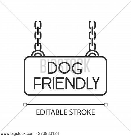 Dog Friendly Territory Pixel Perfect Linear Icon. Doggy Allowed Area Chain Hanging Plate. Thin Line