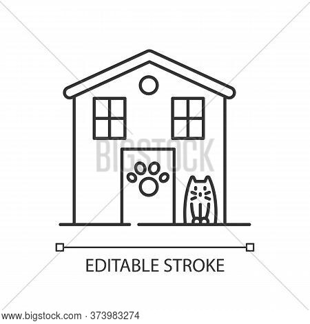 Animal Shelter Exterior Sign Pixel Perfect Linear Icon. Stray Cats And Dogs House, Animals Care. Thi