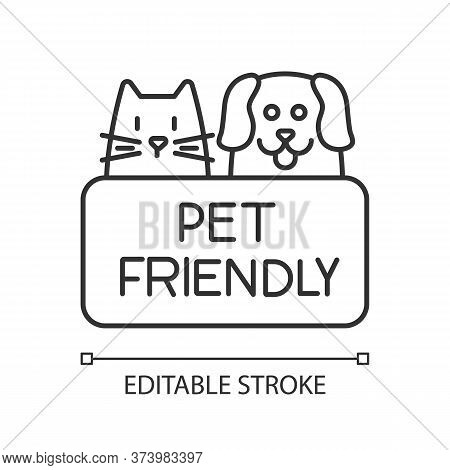 Cat And Dog Friendly Area Pixel Perfect Linear Icon. Puppy And Kitten Permitted, Pets Welcome. Thin