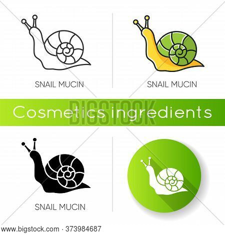 Snail Mucin Icon. Skincare Natural Component. Organic Delicate Product. Healing Effect. Repairing Ef