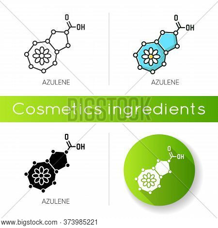 Azulene Icon. Scientific Compound. Chemical Skincare Formula. Blue Pigment. Molecular Structure. Ato
