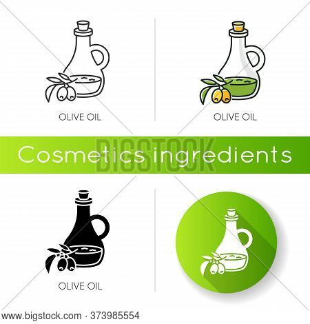 Olive Oil Icon. Vegan Component. Exfoliating And Moisturizing Effect For Skincare. Traditional Food
