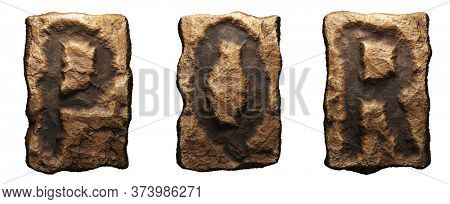 Set of rocky letters P, Q, R. Font of stone on white background. 3d rendering