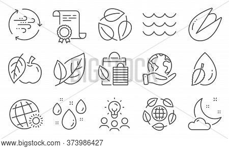 Set Of Nature Icons, Such As Bio Shopping, Leaf. Diploma, Ideas, Save Planet. Rainy Weather, Wind En