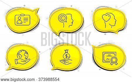 Writer Sign. Diploma Certificate, Save Planet Chat Bubbles. Id Card, Friend And Income Money Line Ic