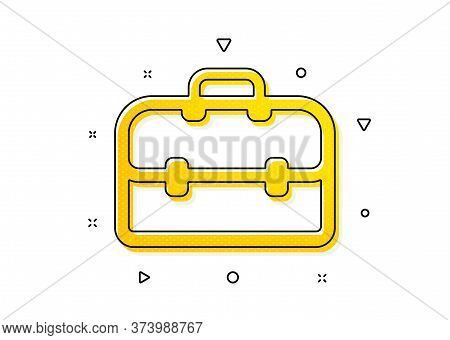 Portfolio Symbol. Business Case Icon. Diplomat Sign. Yellow Circles Pattern. Classic Portfolio Icon.