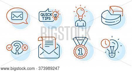 Pie Chart, Quiz Test And Messenger Signs. Best Rank, Time Management And Mail Newsletter Line Icons
