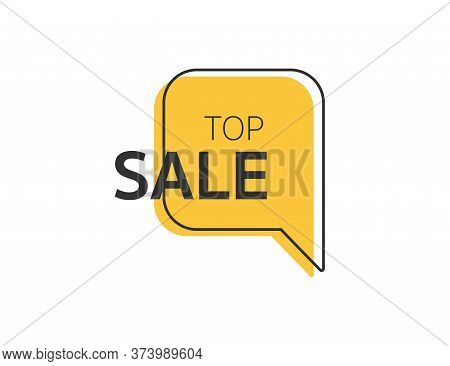 Sale Label In Yellow Outline Style. Top Sale Icon. Promotion Label. Best Offer. Discount Tag In Stor