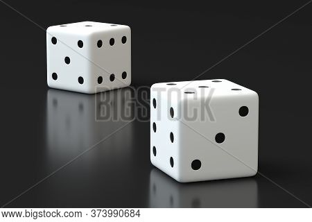 White Dice On A Gray Surface Closeup. White Dice Couple 3d Rendering