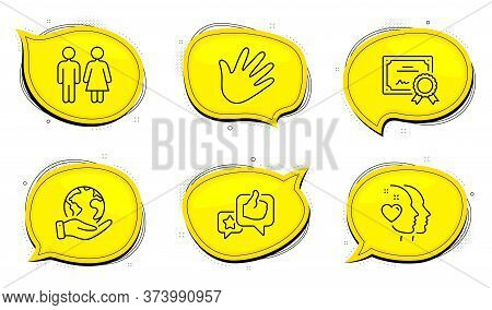 Heart Sign. Diploma Certificate, Save Planet Chat Bubbles. Hand, Like And Restroom Line Icons Set. S