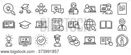 Laptop, Book And Video Tutorial Icons. Education Line Icons. Graduation Cap, Instructions And Presen