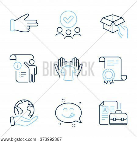 Hold Box, Manual Doc And Vacancy Line Icons Set. Diploma Certificate, Save Planet, Group Of People.
