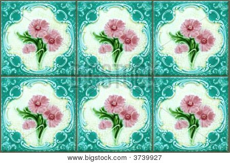 Blue Nyonya Tiles With Pink Flowers