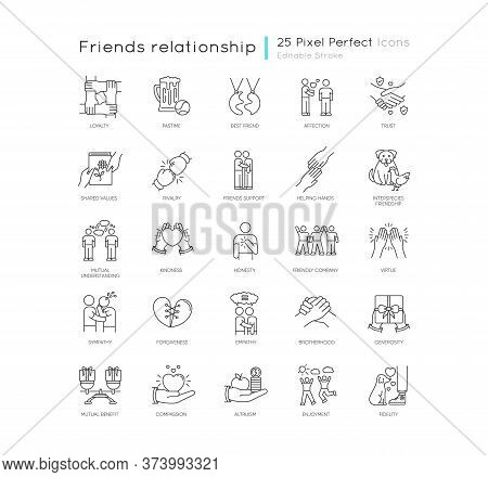Friendly Relationship Pixel Perfect Linear Icons Set. Friendship, Interpersonal Emotional Bond Custo