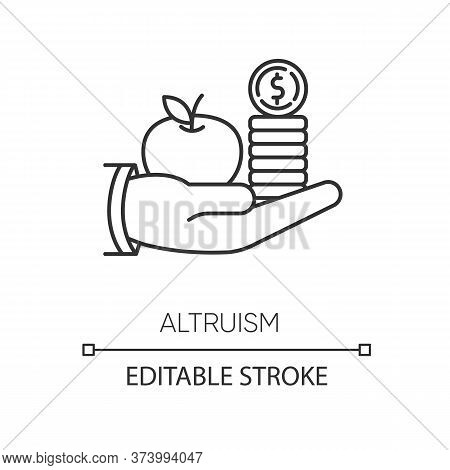 Altruism Pixel Perfect Linear Icon. Thin Line Customizable Illustration. Selfless Giving And Sharing