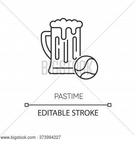 Pastime Pixel Perfect Linear Icon. Thin Line Customizable Illustration. Leisure Activities, Recreati