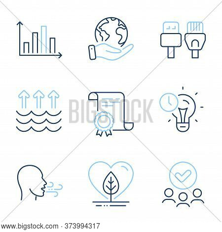 Breathing Exercise, Evaporation And Computer Cables Line Icons Set. Diploma Certificate, Save Planet
