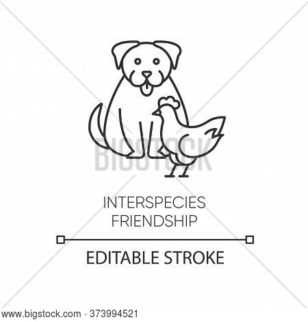 Interspecies Friendship Pixel Perfect Linear Icon. Thin Line Customizable Illustration. Bond Between