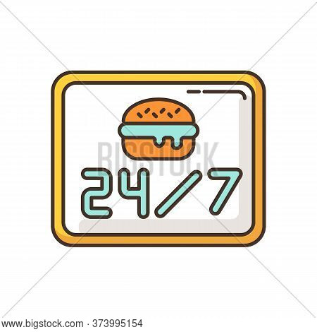 24 7 Open Burger Joint Rgb Color Icon. Twenty Four Seven Cantine. Everyday Eatery Menu. 24 Hrs Fast