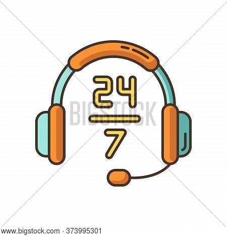 24 7 Hour Customer Support Rgb Color Icon. Headphone Sign For Around The Clock Service. Everyday Cri