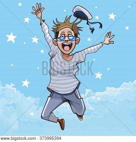 Cartoon Boy In Peakless Cap Joyfully Jumping Against The Sky