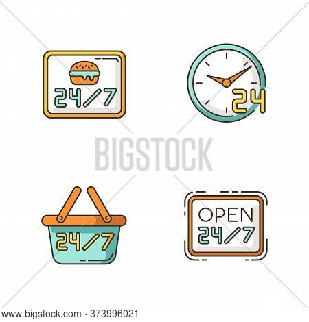 24 7 Hour Service Rgb Color Icons Set. Everyday Open Burger Cafe. 24 Hrs Available Restaurant. Open