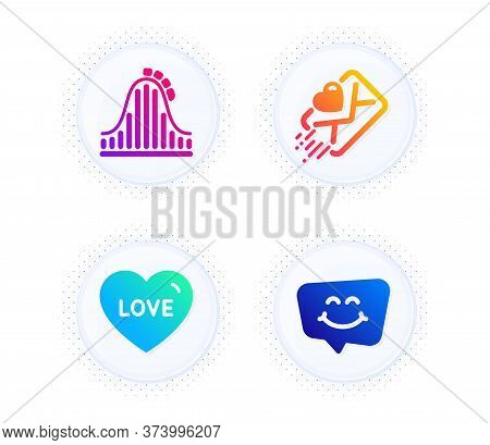 Roller Coaster, Love And Love Letter Icons Simple Set. Button With Halftone Dots. Smile Chat Sign. A