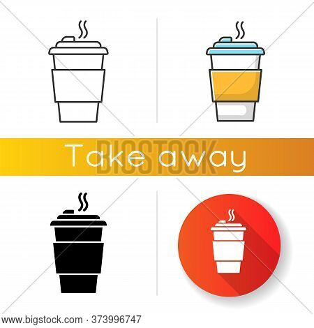 Coffee To Go Icons Set. Linear, Black And Rgb Color Styles. Caffeine Drink In Plastic Cup. Hot Bever