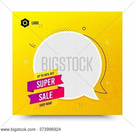 Super Sale Badge. Yellow Banner Template. Discount Banner Shape. Coupon Tag Icon. Social Media Banne