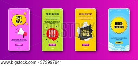 Buy 1 Get 1 Free Badge. Phone Screen Banner. Discount Banner Tag. Coupon Icon. Sale Banner On Smartp