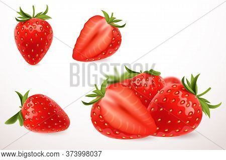 Realistic Strawberry In 3d Style. Fresh Ripe Strawberry Isolated On White Background. Sweet Berry. A