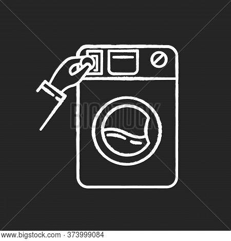 Self-service Laundry Chalk White Icon On Black Background. Laundromat, Washateria, Coin Wash Service