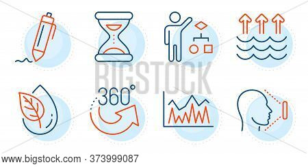 Signature, Investment And Time Signs. 360 Degrees, Evaporation And Organic Product Line Icons Set. F
