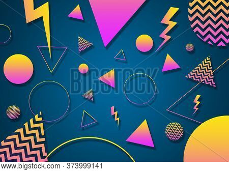 A Turquoise, Pink And Yellow Retro Vaporwave 90's Style Random Geometric Shapes With Vibrant Neon Co